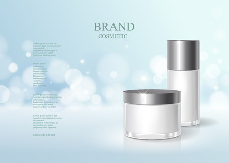 Cosmetic blue bottle package design with moisturizer cream or liquid, skin care product poster, sparkling background vector design. Illustration