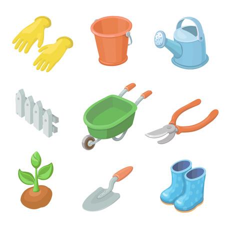 equipment work: Gardening work tools icons set. Nice equipment Stock Photo