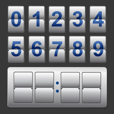 time remaining: Countdown timer, white color mechanical scoreboard with different numbers Illustration