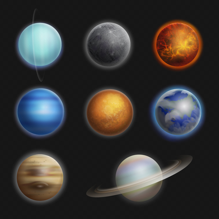 cosmo: Solar System planets realistic set isolated vector illustration.