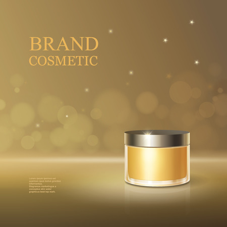 skin oil: Beauty cosmetic product poster cream or face skincare premium liquid container, sparkling background. 3D golden bottle package illustration.
