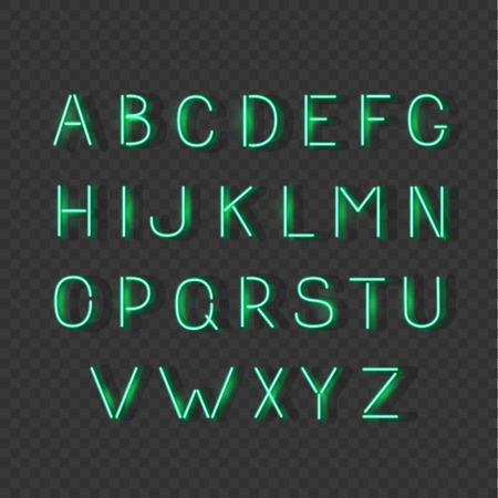 luminescent: Neon light glowing alphabet signs, luminescent font