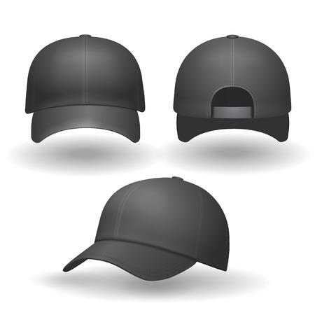 black  cap: Set of realistic black baseball caps isolated Front an side view Stock Photo