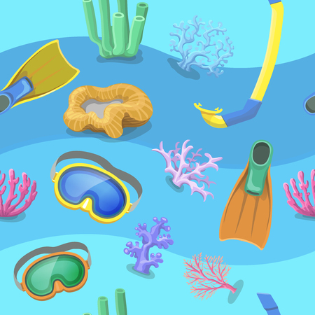 corall: Seamless pattern with water waves flippers, mask and snorkel Stock Photo