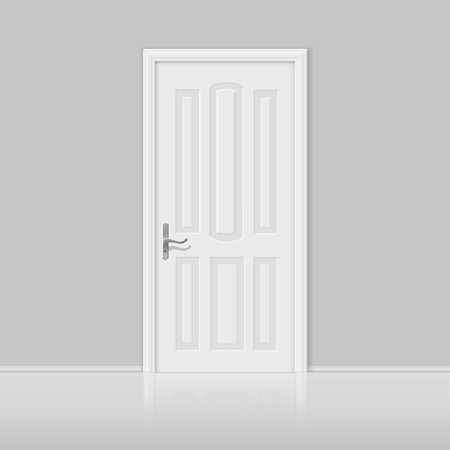 white door: Closed white door with frame isolated