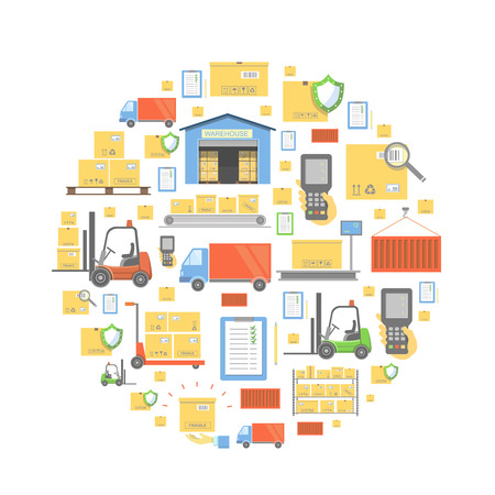 Concept of logistics business, warehouse, transportation delivery and cargo circular background icons.
