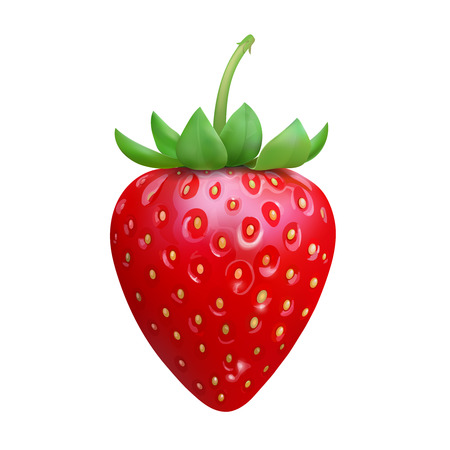 white yummy: Strawberry Realistic icon vector isolated on white background.