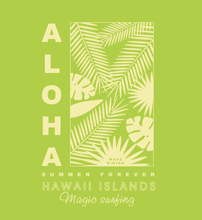 Aloha hawaii typography with palm leaves for t-shirt,