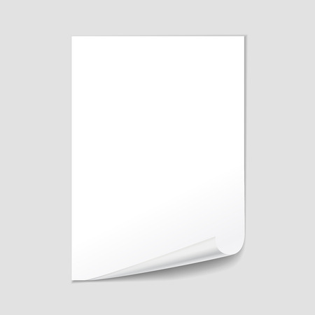 page curl: Empty paper sheet blank with page curl, realistic vector