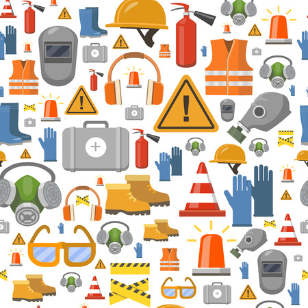 Job safety flat icons. Protective equipment seamless pattern . Workwear helmet, gloves, extinguisher, headphones vector illustration