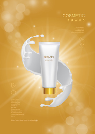 Cosmetic product poster, tube bottle package design with moisturizer cream or face milk on a gold sparkling background vector Illustration
