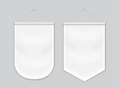 Pennant white blank hanging on the wall, template mockup