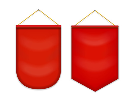 outdoor blank billboard: Red pennant hanging on the wall, mockup Illustration