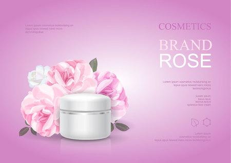 Modello crema idratante Rose, annunci di cura della pelle. Illustrazione vettoriale di poster cosmetici rosa bellezza Vettoriali