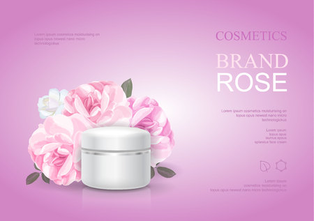 Rose moisturizing cream template, skin care ads. Pink beauty cosmetic product poster vector illustration