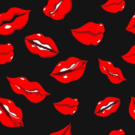 red lips: Patrón sin fisuras con labios de mujer sexy de color rojo sobre fondo negro Foto de archivo