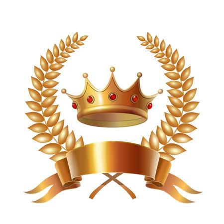 king crown laurel icon round: Gold vintage crown and laurel wreath, royal emblem.