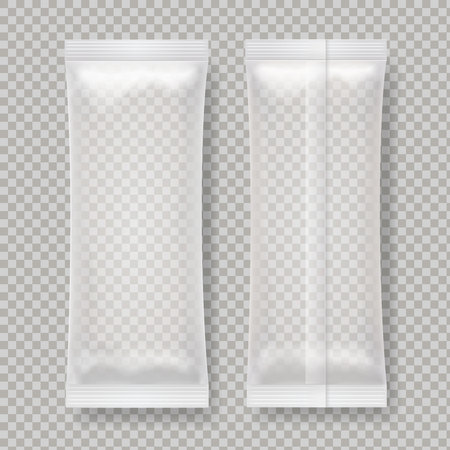 Transparent blank foil food package for snack, chocolate bar, sugar.