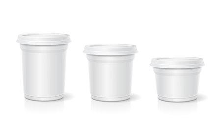pack ice: White blank container for dessert, yogurt, ice cream, Vector set