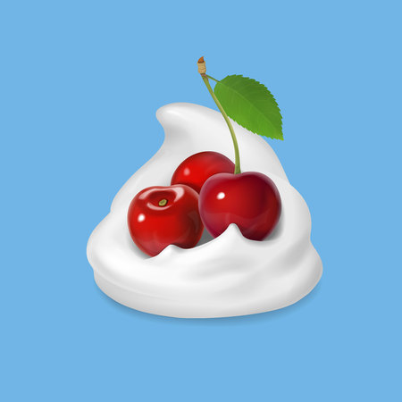 Whipped cream with cherry vector icon illustration Illustration