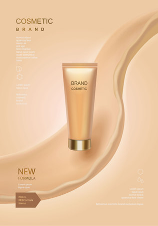 Cosmetic ads template, toner or lotion tube with fluid elements isolated on skin color background.