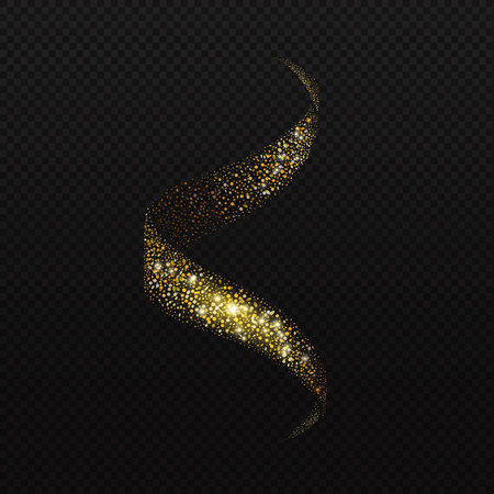 glitz: Spiral stream of sparkling glitters confetti. Glowing trail of golden particles on black transparent background