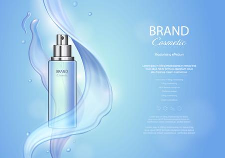 Ein Vektor-Poster mit feuchtigkeitsspendenden kosmetischen Hautpflege Premium-Produkt, Spray-Flasche und wässrige Textur auf blauem Hintergrund