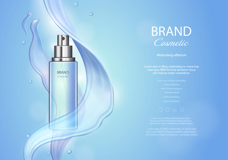A Vector poster with moisturizing cosmetic skin care premium product, spray bottle and watery texture on blue background