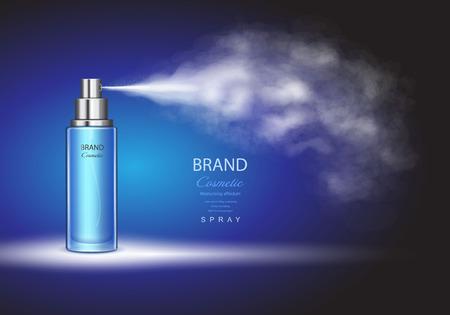 Botella de spray, contenedor de tóner de hielo sobre fondo azul Premium anuncios plantilla Ilustración de vector