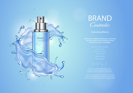 Ice toner ads on blue background. Spray bottle water drops elements, realistic cosmetics product vector illustration