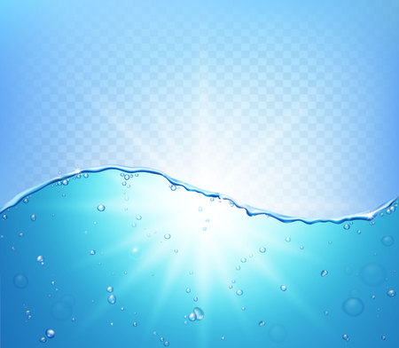 Abstract vector water wave with bubbles Illustration