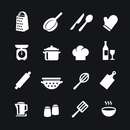 Set of kitchen tools silhouettes vector icons Illustration