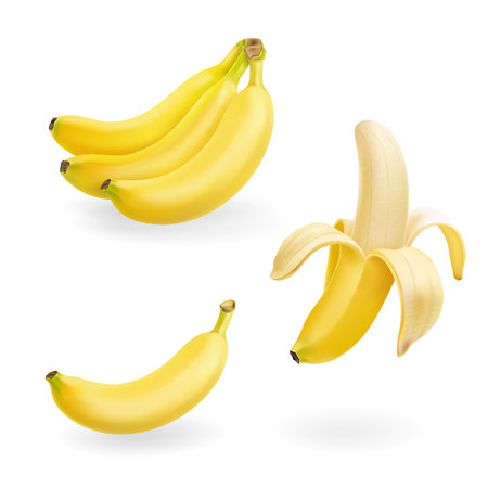 Banana fruit set. 3d vector realistic icons illustration