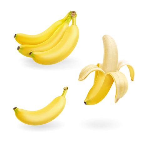 Banana fruit set. 3d vector realistic icons illustration