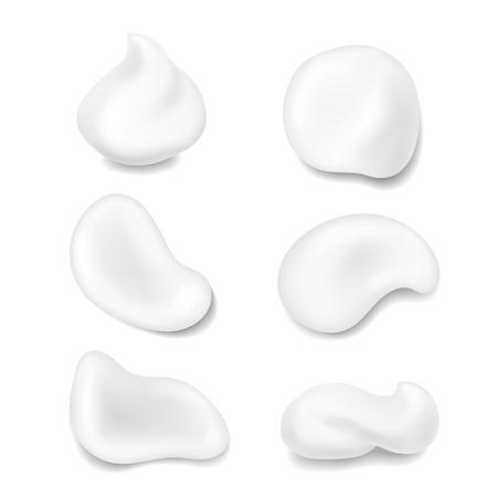현실적인 흰색 피부 코스메틱 크림 벡터 견본 설정합니다. 스킨 케어 로션 무스 신선한 제품 일러스트 레이션