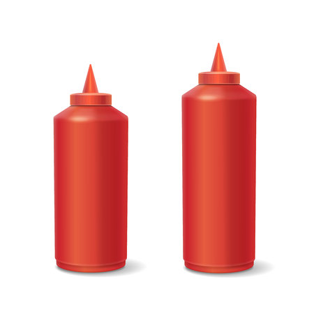 hot couple: Red plastic bottles of ketchup isolated on white.