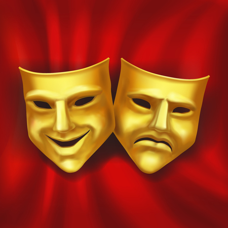 Theatrical gold mask on a red background. Vector realistic illustration