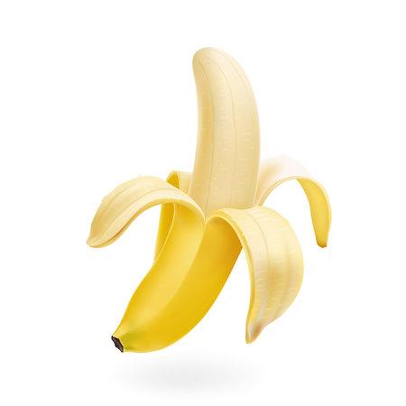 ベクトル半分皮をむいたバナナを分離したリアルなイラスト  イラスト・ベクター素材