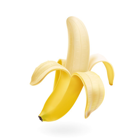 Vector half peeled Banana isolated realistic illustration 向量圖像