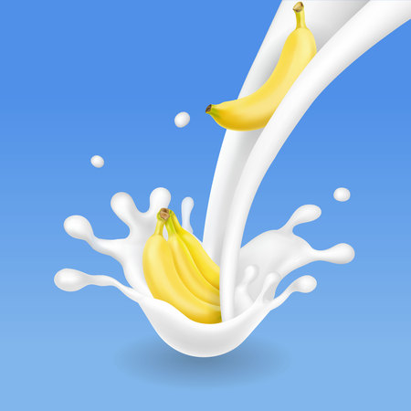 Banana with milk splashes vector illustration cocktail shake or yogurt Illustration