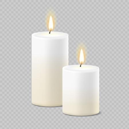 Conjunto de velas vector realista blanco con fuego en el fondo transparente. Ilustración de vector