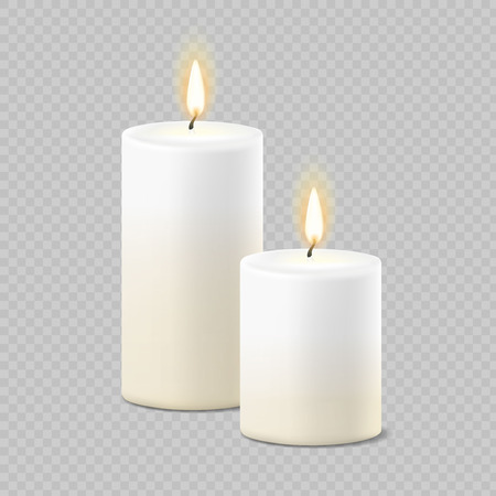 Set of realistic vector white candles with fire on transparent background.