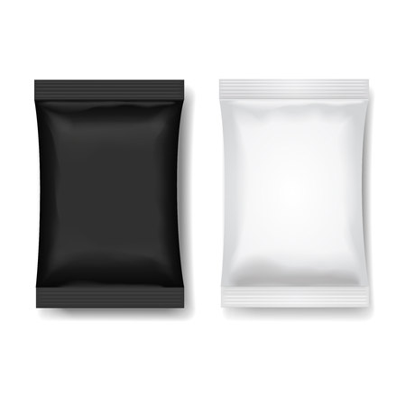 pouch: Snack package black white, Blank food packaging or Chocolate or wafer 3 d realistic vector illustration