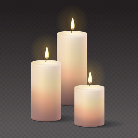 Candles burning, with fire realistic Vector Illustration on transparent dark background