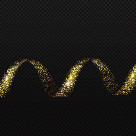 shiny black: Gold Spiral trail glittering sparkling shiny helix element. Vector