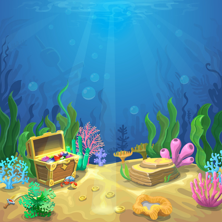 Underwater landscape. The ocean and the undersea world background, corals and pirate chest.