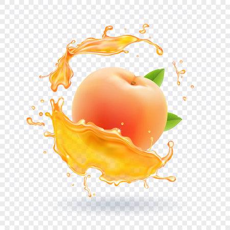 桃ジュースのイラストです。  イラスト・ベクター素材