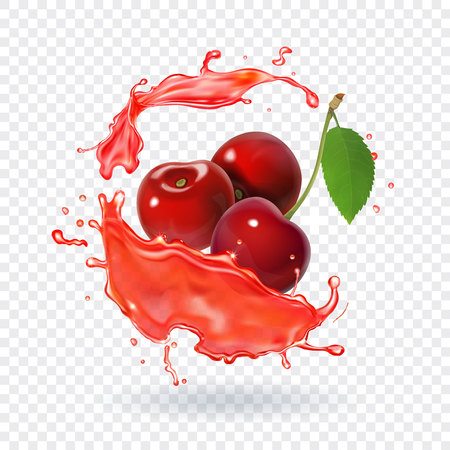 Cherry juice Realistic fresh berry fruit splash of juice Vectores