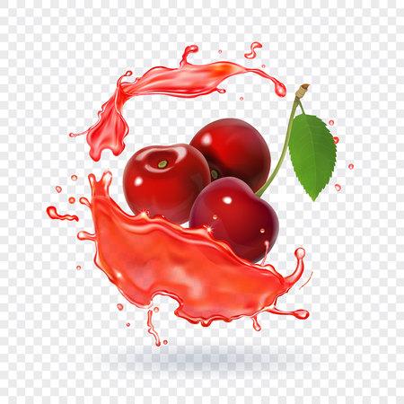 Cherry juice Realistic fresh berry fruit splash of juice Vettoriali