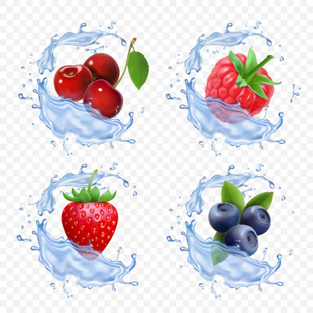 Forest berry juice. Realistic illustration of fruit fresh vector icon Illustration